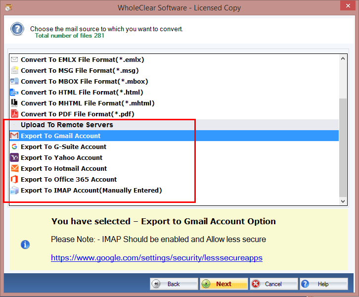 Select 'Gsuite Account' for taking Backup and Conversion